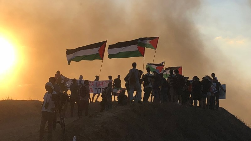 September 21: Israeli activists demonstrate next to the Gaza border